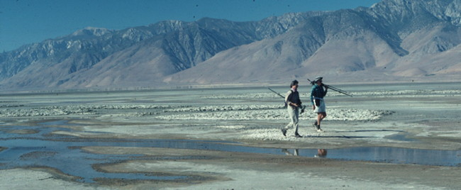 Bob Hudson and Judy Wickman returning from an Owens Lake bird census